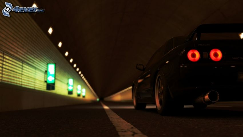 Nissan Skyline, lights, tunnel