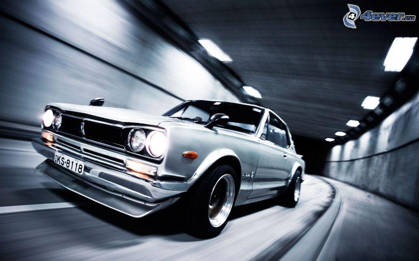 Nissan Skyline GT-R, oldtimer, speed, tunnel