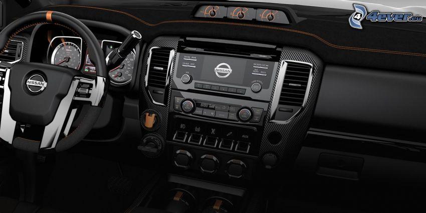 Nissan Titan, interior, dashboard, steering wheel