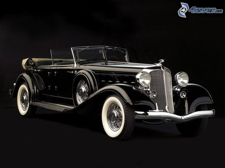 oldtimer, convertible, black and white photo