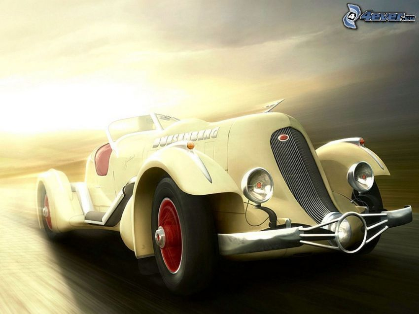 oldtimer, convertible, speed