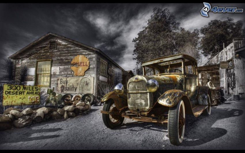 oldtimer, old wooden house, HDR