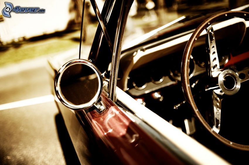 oldtimer, rear view mirror