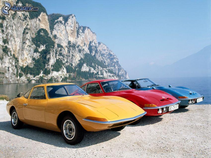Opel GT, beach, cliff