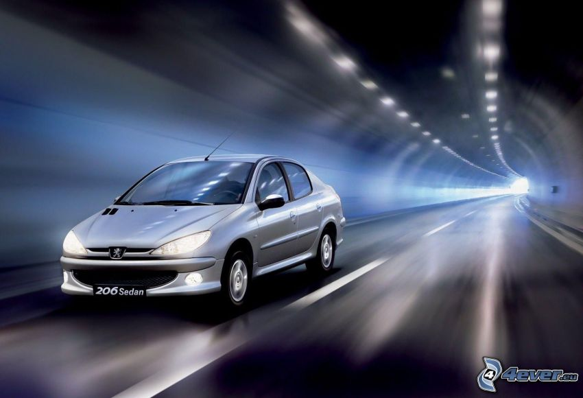 Peugeot 206, speed, tunnel