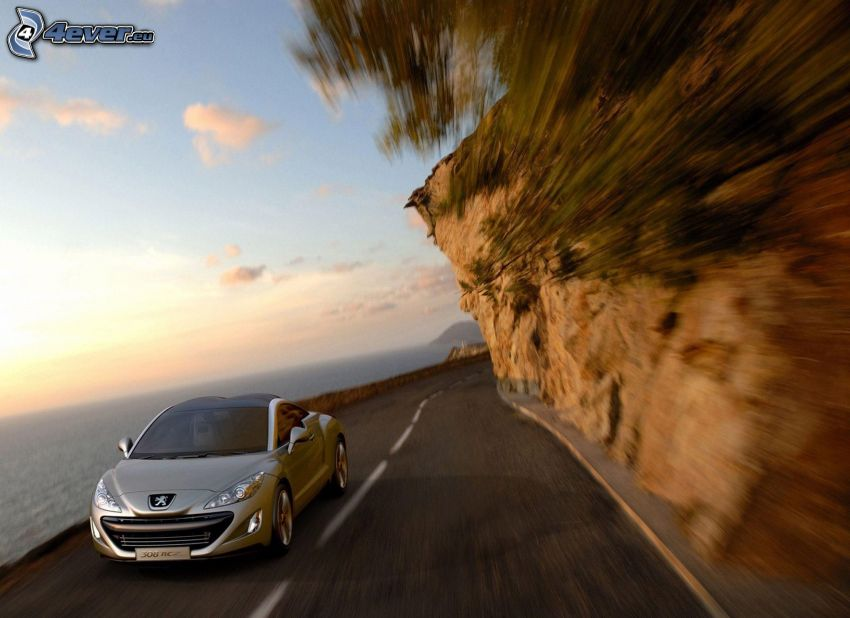 Peugeot 308RCZ, speed, sea