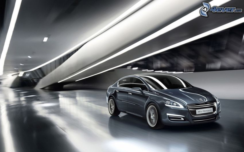 Peugeot 508, tunnel, speed, black and white