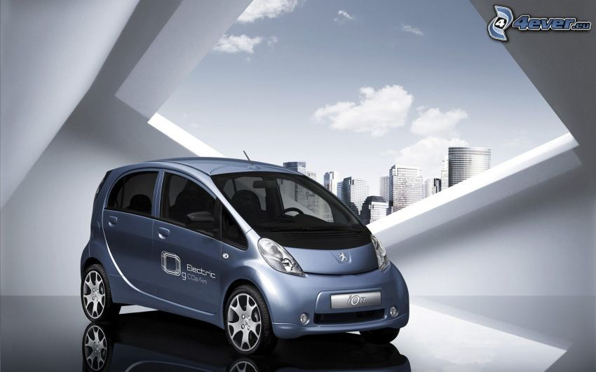 Peugeot iOn, electric car, skyscrapers