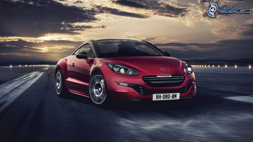 Peugeot RCZ, clouds, runway, sun behind the clouds