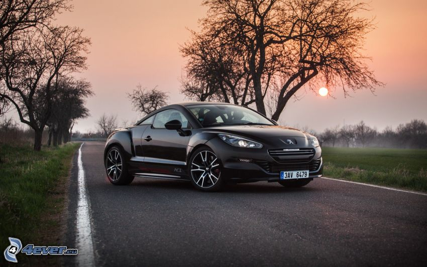 Peugeot RCZ, road, avenue of trees, sunset