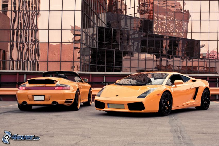 Porsche, convertible, Lamborghini, building, reflection