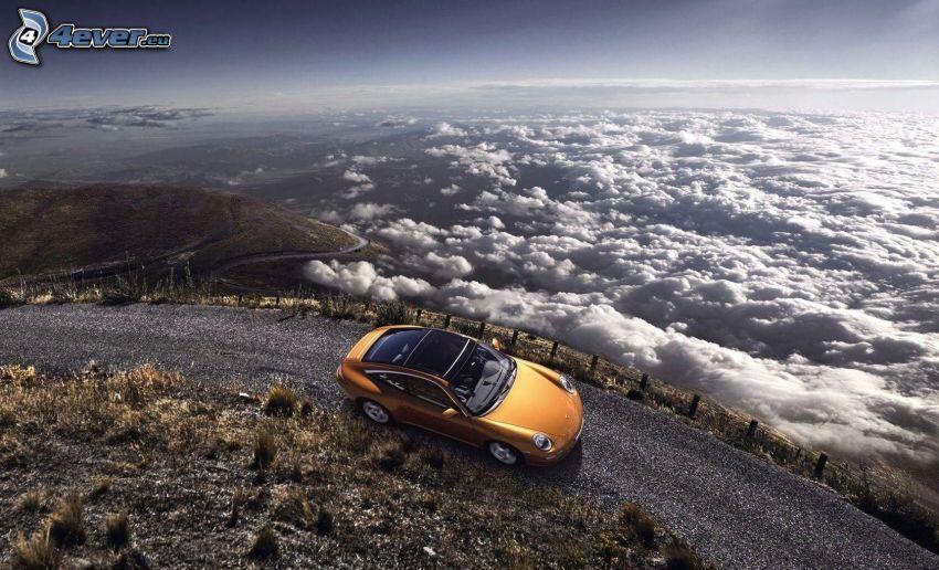 Porsche, road, clouds