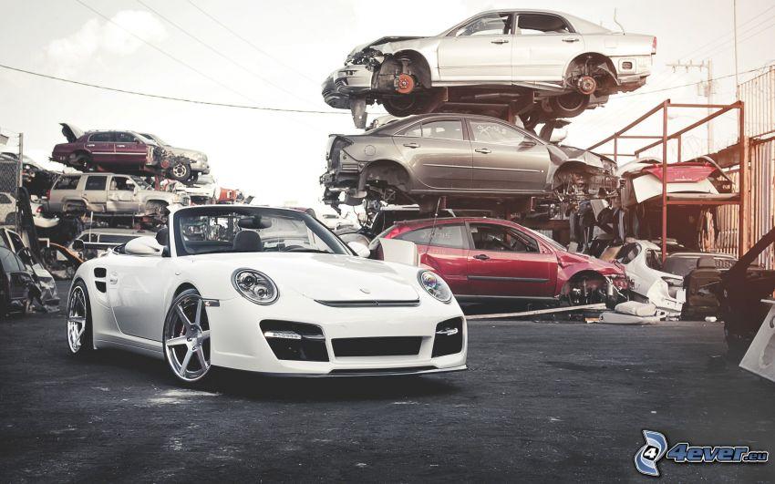 Porsche 911, convertible, wreck