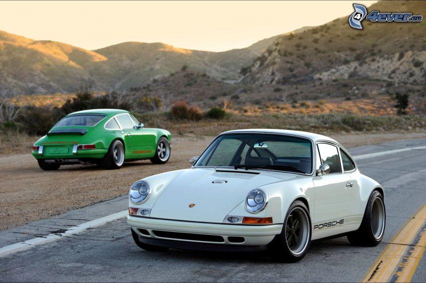 Porsche 911, oldtimers, mountain