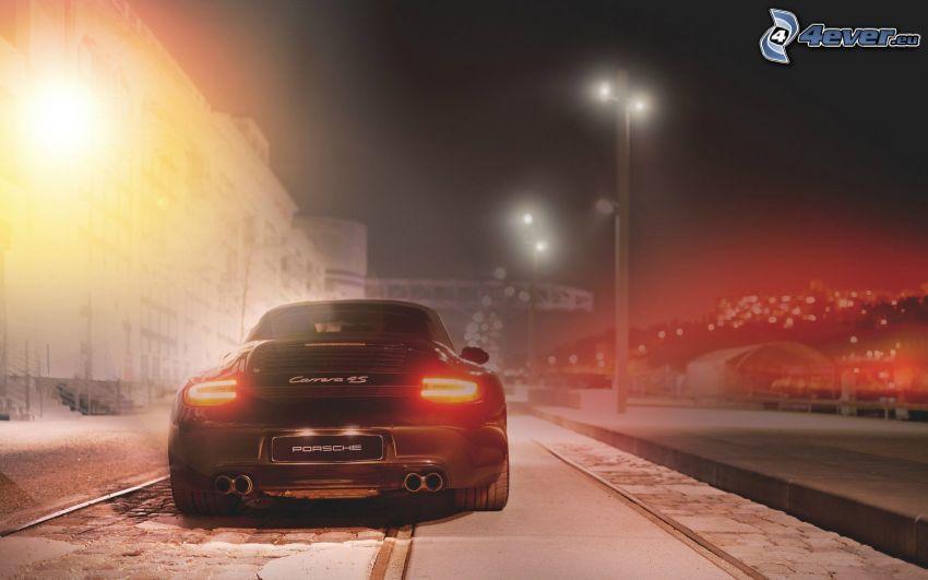 Porsche 911 Carrera 4S, street lights, snow