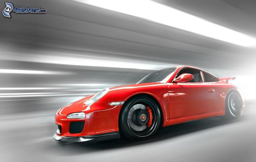 Porsche 911 GT3, speed, tunnel