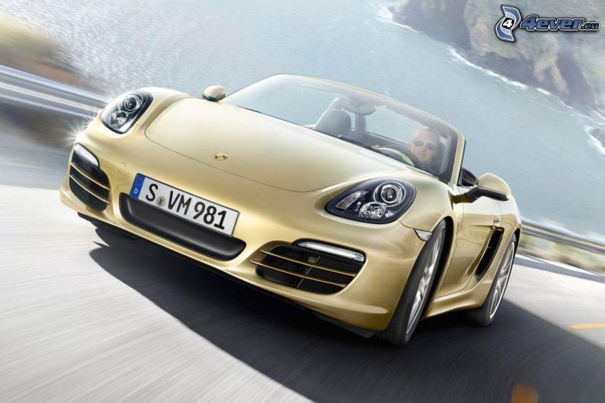 Porsche Boxster, convertible, road, sea