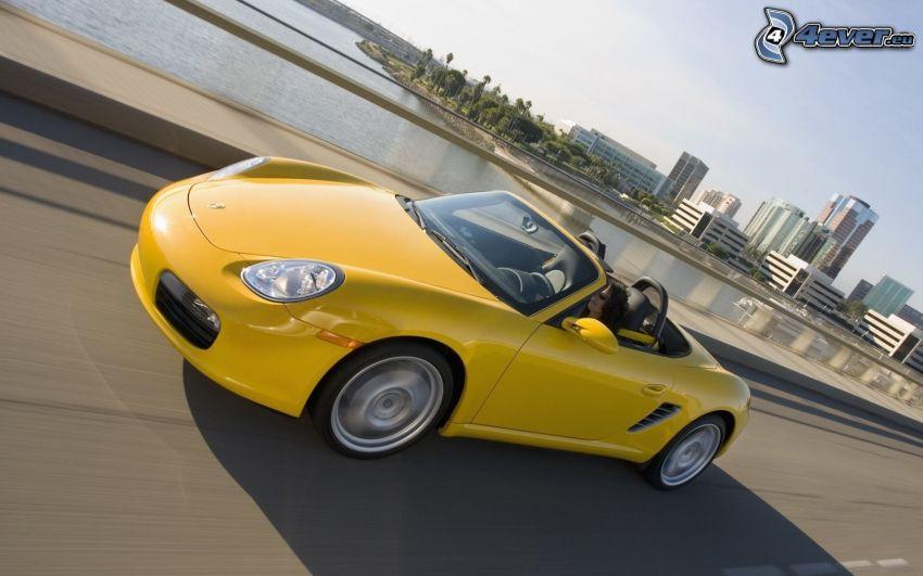 Porsche Boxster, convertible, skyscrapers, road