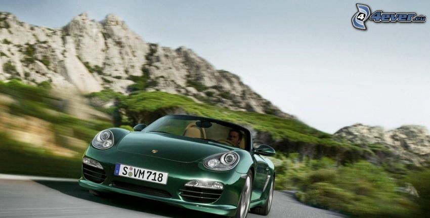 Porsche Boxster, convertible, speed, rocks
