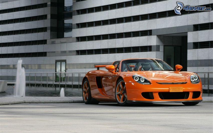 Porsche Carrera GT, convertible, building, fountain