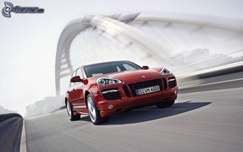 Porsche Cayenne, speed, bridge