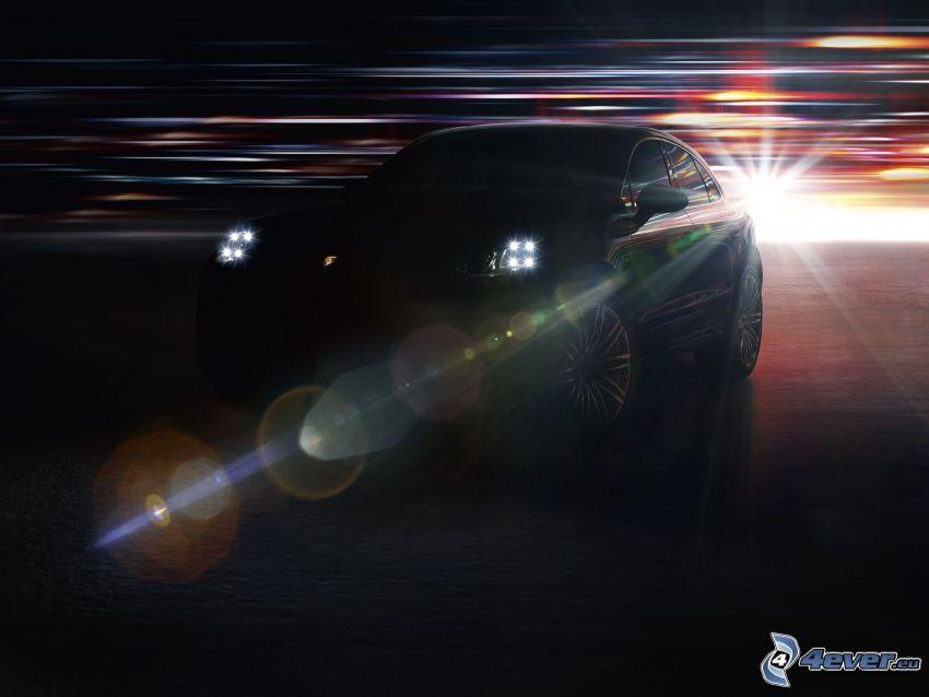 Porsche Macan, lights, darkness