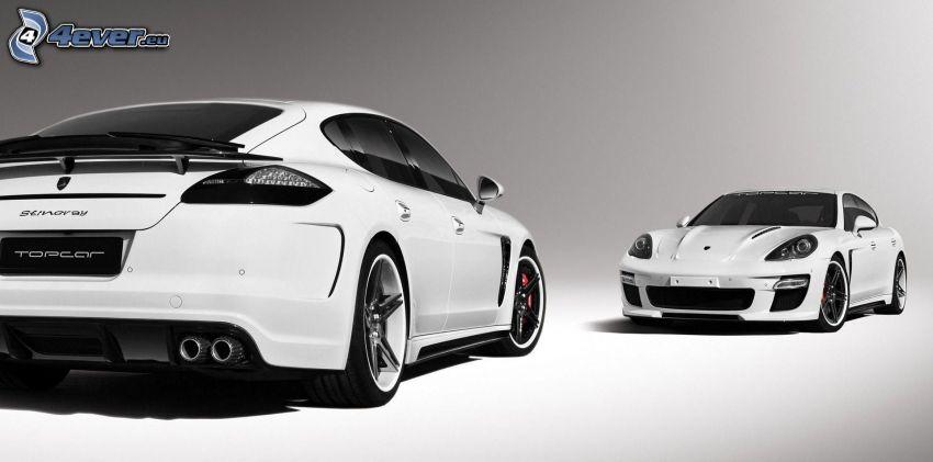 Porsche Panamera, black and white photo