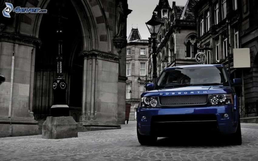 Range Rover, buildings, pavement