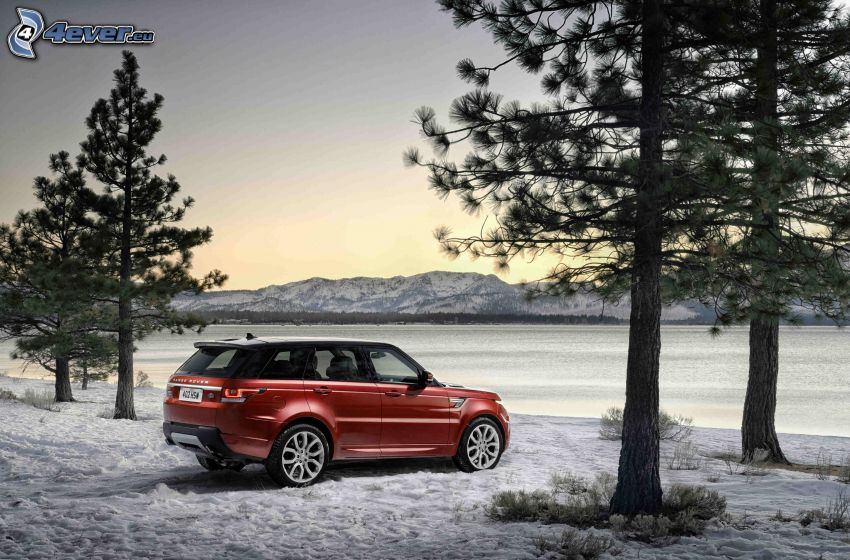 Range Rover, frozen lake, snow, coniferous trees