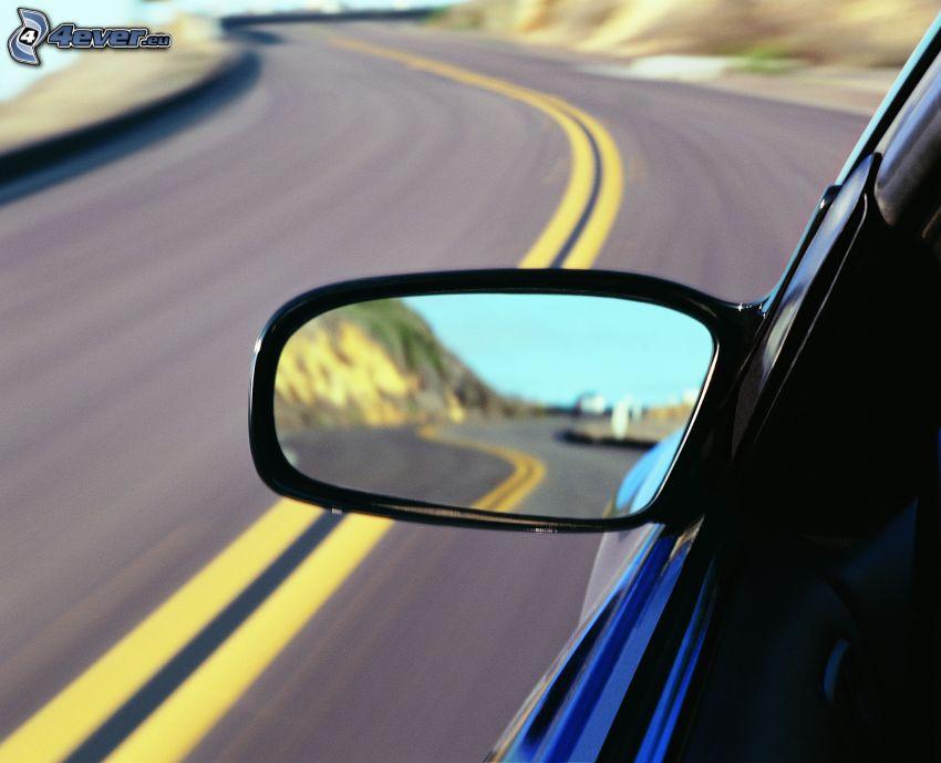 rear view mirror, car, road