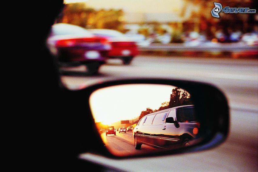 rear view mirror, limousine