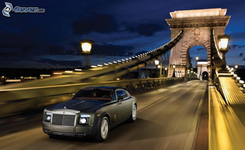 Rolls Royce, bridge, Budapest, speed, evening, lamps