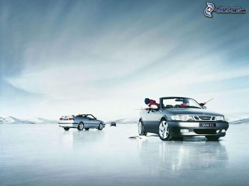 Saab, convertible, fishing, ice