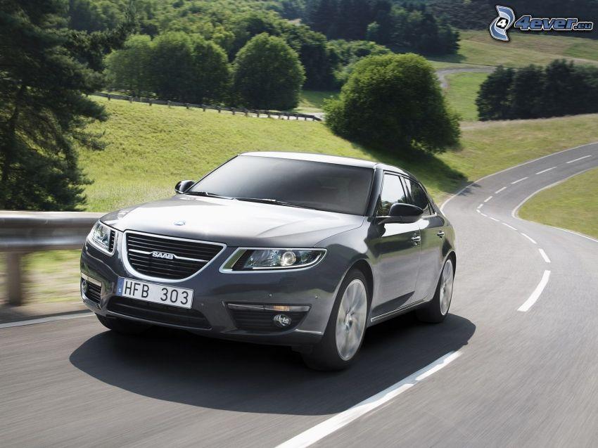 Saab, speed, road, trees