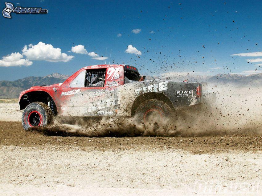 terrain vehicle, dust, clay