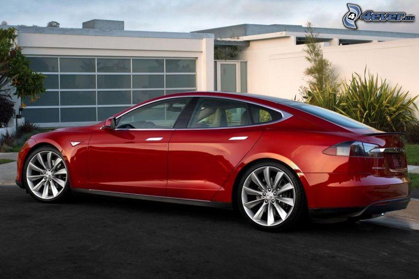 Tesla Model S, electric car, modern house