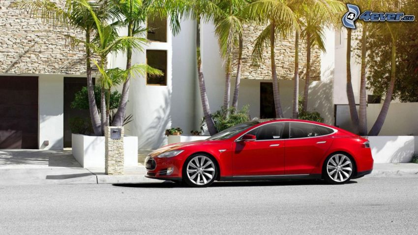Tesla Model S, electric car, palm trees