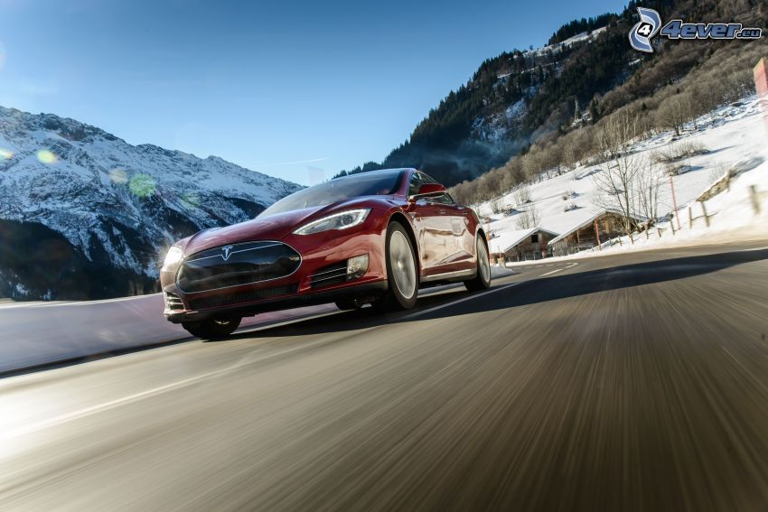 Tesla Model S, electric car, road, speed