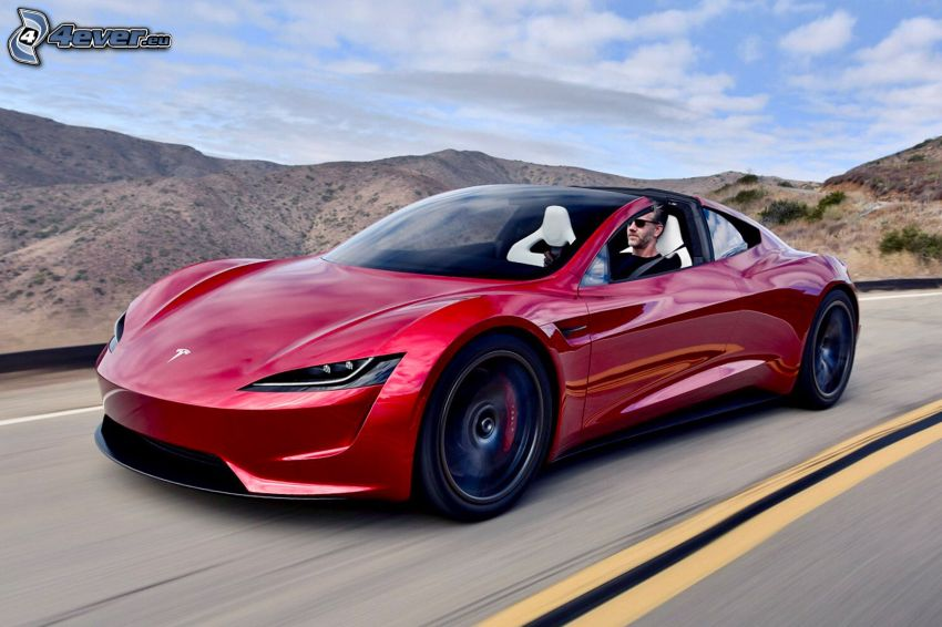 Tesla Roadster 2, convertible, mountain, speed