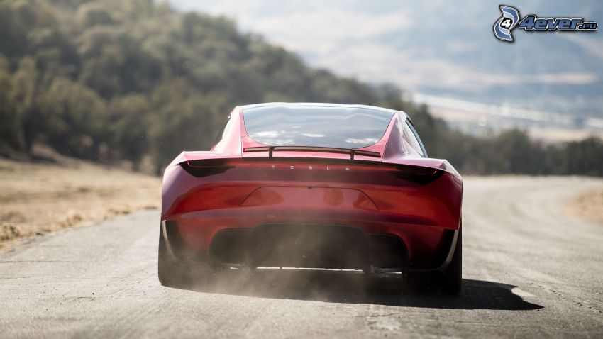Tesla Roadster 2, road, forest