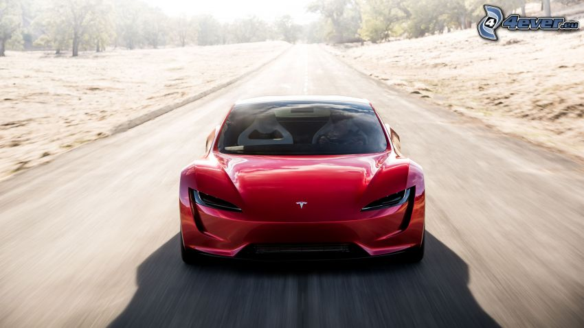 Tesla Roadster 2, speed, road