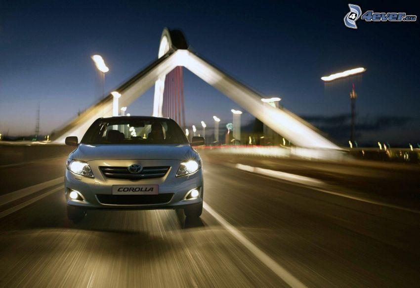 Toyota Corolla, speed, modern bridge, evening, lights