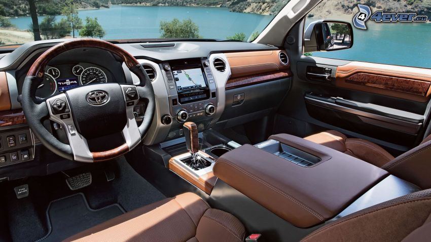 Toyota Tundra, interior, steering wheel, dashboard, lake