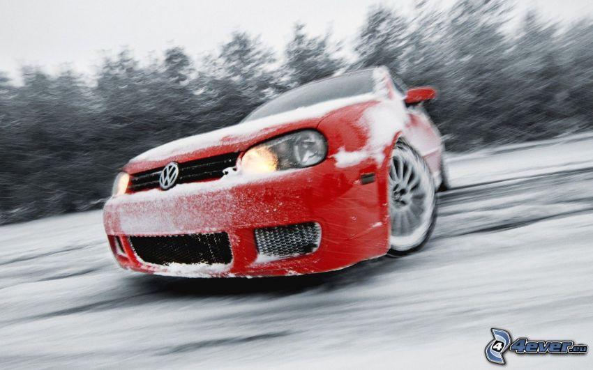 Volkswagen Golf, drifting, snow