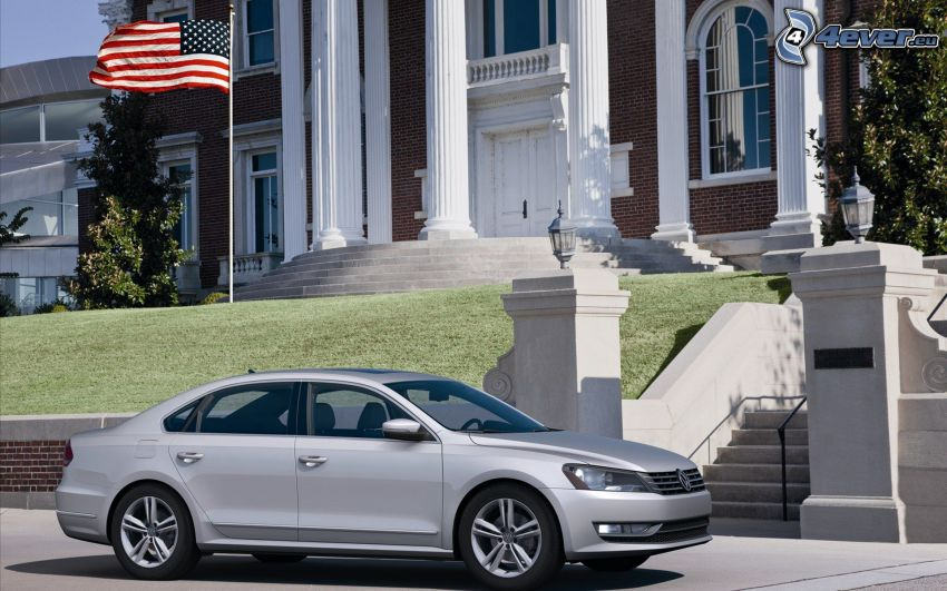 Volkswagen Passat, house, the USA flag