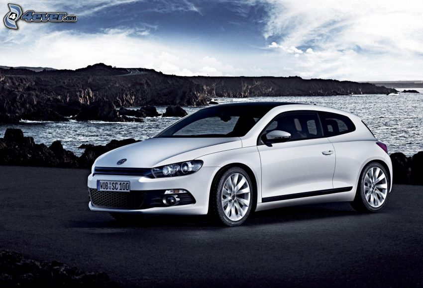Volkswagen Scirocco, rocks in the sea