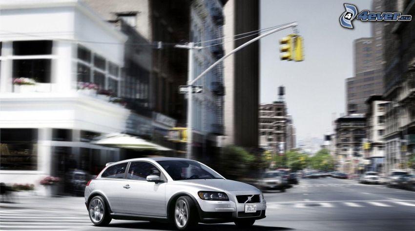 Volvo, street, speed