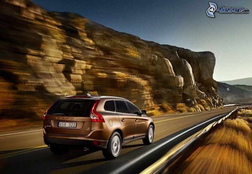 Volvo XC60, road, speed, rock