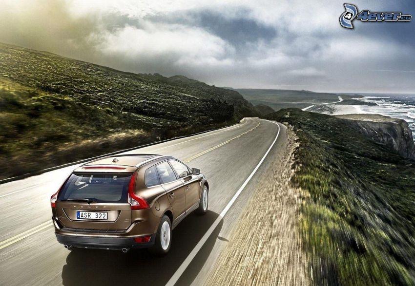 Volvo XC60, road, speed