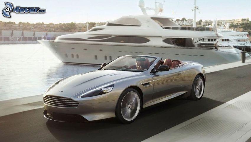Aston Martin DB9, convertible, speed, ship
